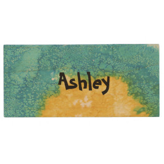 Blue/Yellow Watercolor Wood USB Flash Drive