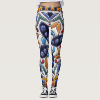 Blue Yellow White Ceramic Art Pattern Leggings