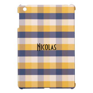 Blue Yellow White Gingham Pattern Personalized Cover For The iPad Mini