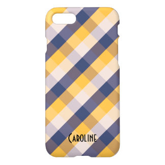 Blue Yellow White Gingham Pattern Personalized iPhone 7 Case