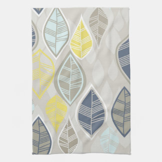 blue yellow white leaves on gray kitchen towel