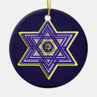 Blue & Yellow Woven Star of David Ornament