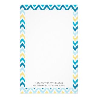 Blue Yellow Zigzag Ikat Pattern Stationery