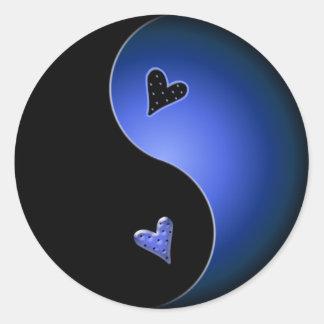 blue yin yang classic round sticker