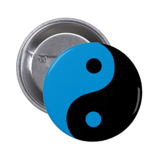 Blue Yin Yang Symbol Pinback Buttons