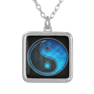 Blue Yin Yang Symbol Silver Plated Necklace