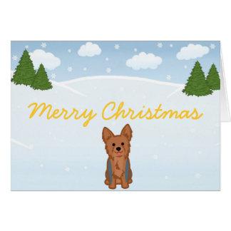 Blue Yorkie Christmas Card