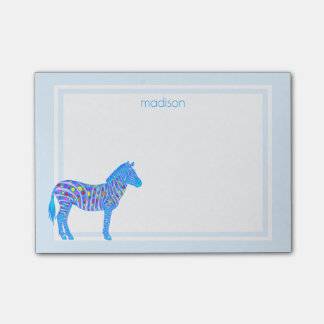 Blue Zebra Dots Stripes Colorful Safari Add Name Post-it® Notes