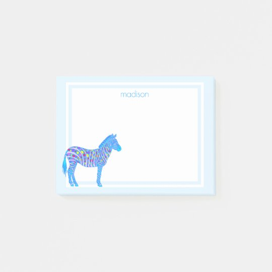 Blue Zebra Dots Stripes Colourful Safari Add Name Post-it® Notes