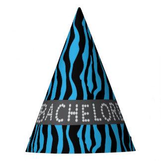 Blue Zebra Faux Diamond Bachelorette Hats