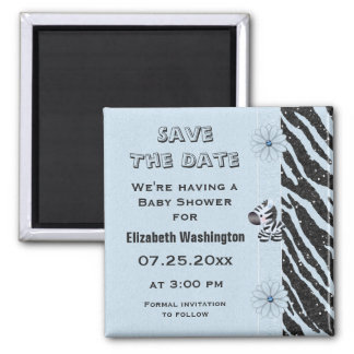 Blue Zebra & Flowers Baby Shower Save the Date Magnet