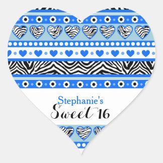 Blue zebra heart Sweet 16 Party sticker