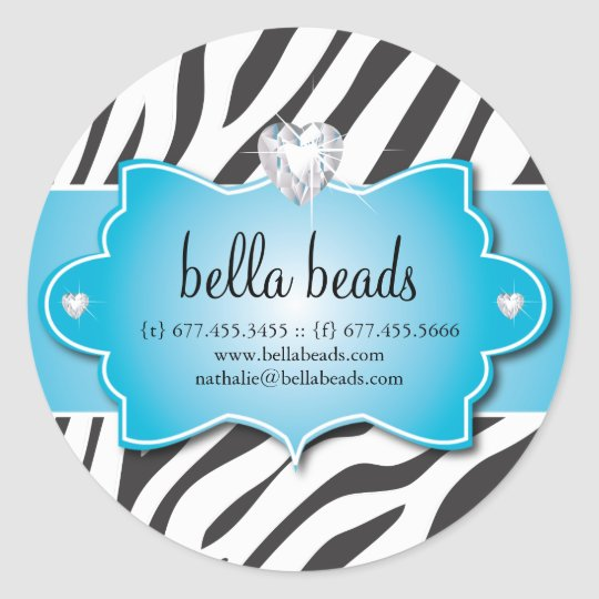 Blue Zebra Jewellery Designer Stickers