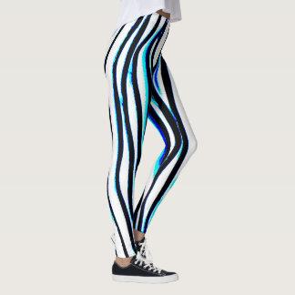 Blue Zebra Lightning Striped Leggings