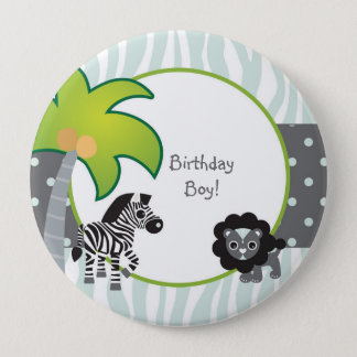 Blue Zebra Lion Jungle Personalized Birthday 4 Inch Round Button