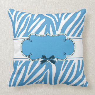 Blue Zebra pattern Personalized Throw Pillow