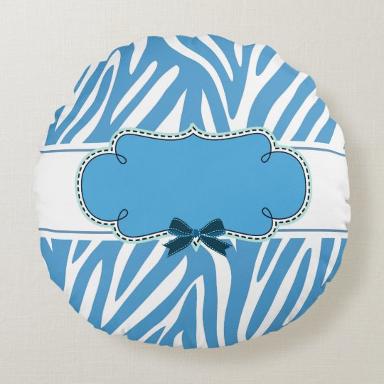 Blue Zebra pattern Round Round Pillow