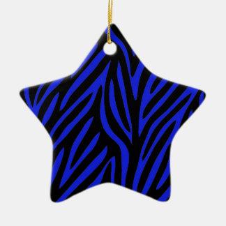 Blue Zebra Print Ceramic Ornament