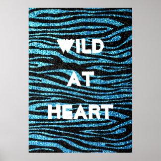 Blue zebra print (faux glitter bling)