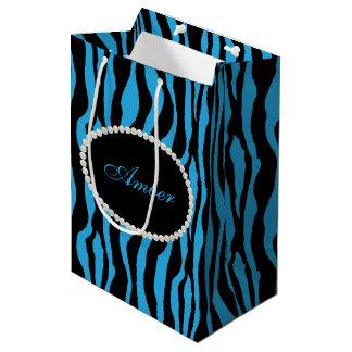 Blue Zebra Print Pearls & Name Monogram Medium Gift Bag