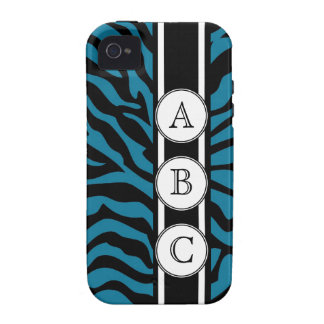 Blue Zebra Print Personalized with 3 Initials Case-Mate iPhone 4 Cases
