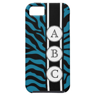 Blue Zebra Print Personalized with 3 Initials iPhone 5 Cover