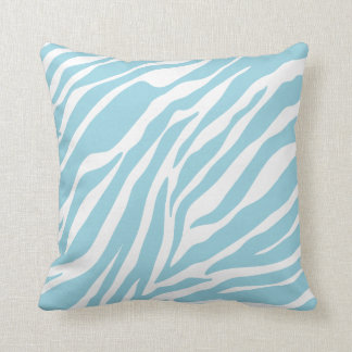 Blue Zebra Print Throw Pillow
