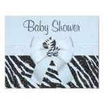 "Blue Zebra, Printed Bow & Glitter Look Baby Shower 4.25"" X 5.5"" Invitation Card"