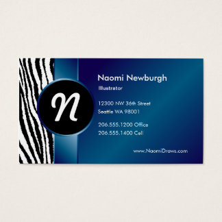 Blue Zebra & Ribbon Business Card