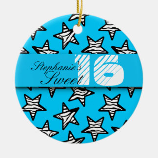 Blue zebra stars Sweet 16 Birthday Ornament