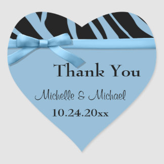 Blue Zebra Stripes And Bow Thank You Sticker