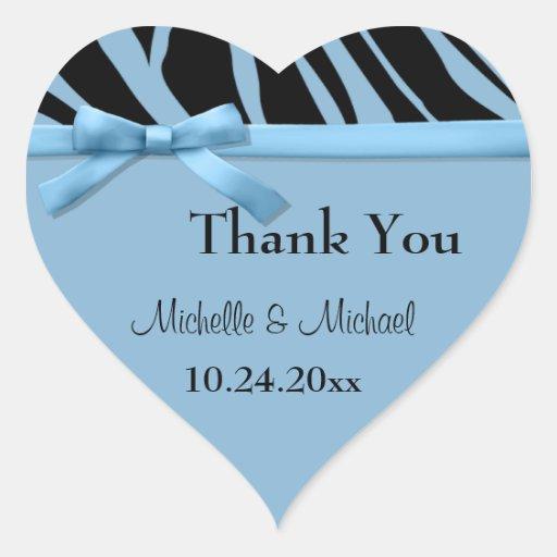 Blue Zebra Stripes And Bow Thank You Sticker