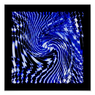 Blue Zebra Swirl Poster