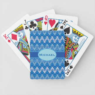 Blue Zigzag Bicycle Playing Cards
