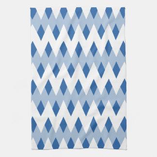 Blue Zigzag Pattern with Diamond Shapes. Kitchen Towel