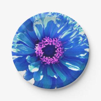 Blue  Zinnia Paper Plate