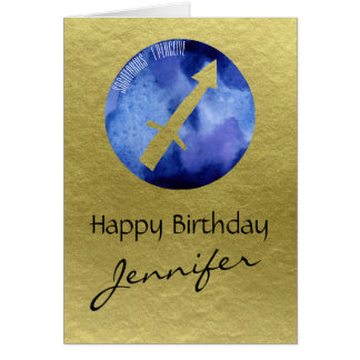 Blue Zodiac Sign Sagittarius on Gold Background Card