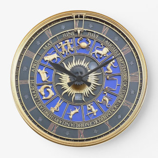 Blue Zodiac Wheel Large Clock