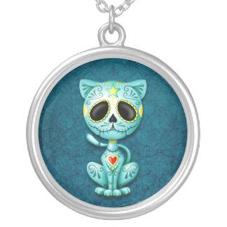 Blue Zombie Sugar Kitten Custom Necklace