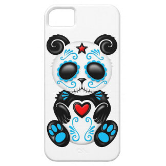 Blue Zombie Sugar Panda on White iPhone 5 Covers