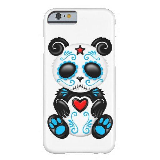 Blue Zombie Sugar Panda on White iPhone 6 Case