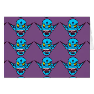 blue zombie troll demon greeting card