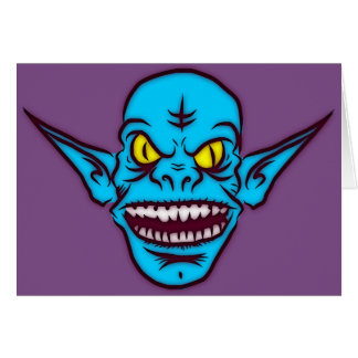 blue zombie troll demon greeting card