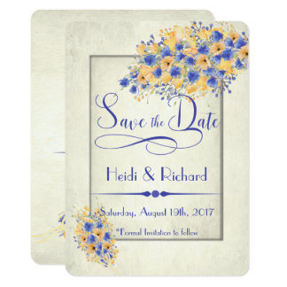 Bluebell and Peach Poppies Save the Dates Card