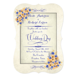 Bluebell and Peach Poppies Wedding Invitations