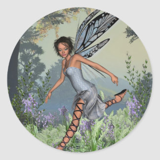 Bluebell Fairy in Spring Woodland Classic Round Sticker