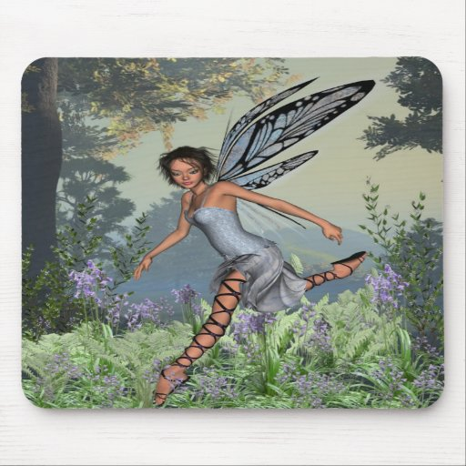 Bluebell Fairy in Spring Woodland Mousepads