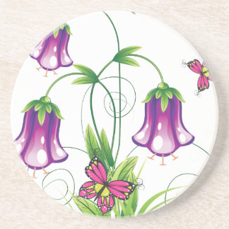 Bluebell Flower with Leaves Beverage Coasters