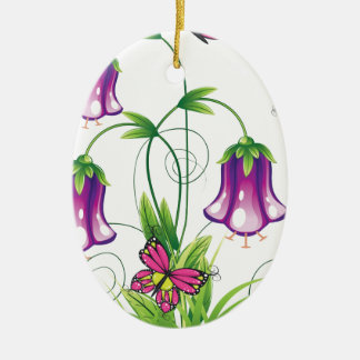 Bluebell Flower with Leaves Ceramic Oval Ornament