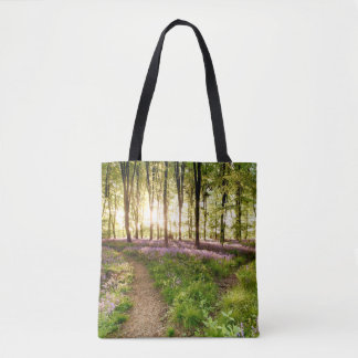 Bluebell woods with birds flocking tote bag